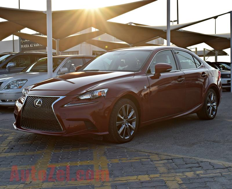 lexus  is250 model 2015 color red car specs is american -v6