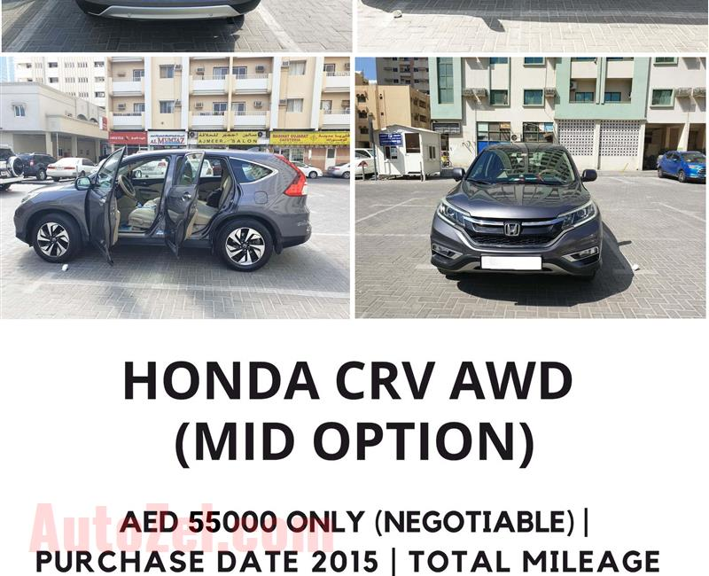 HONDA CRV ( ALL FOUR WHEEL DRIVE ) FULL OPTIONS WITH LEATHER SEAT COVER AND AGENCY MAINTAINED ( IMMEDIATE SALES)