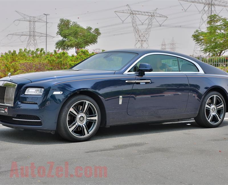 ROLLS ROYCE WRAITH, V12- 2016- BLUE- 60 000 KM- GCC, FULL OPTION WITH STAR ROOF