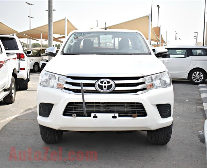 TOYOTA HILUX 4X4 PICK-UP, V4- 2018- WHITE- 67 000 KM- GCC, MANUAL GEAR- DIESEL