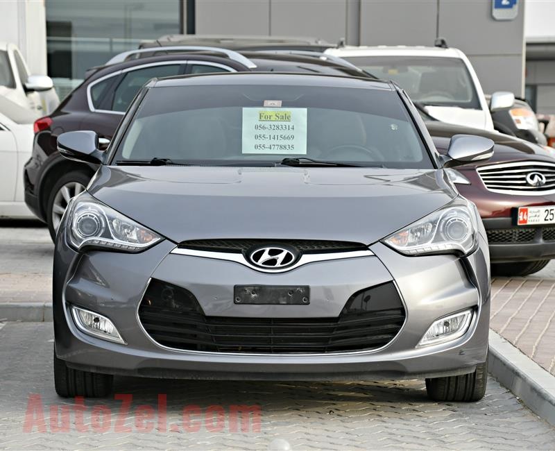 HYUNDAI VELOSTER MODEL 2015 - GREY - 85,000 KM - V4 - GCC