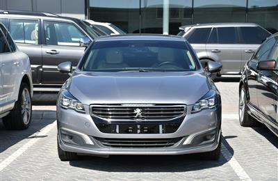 PEUGEOT 508 TURBO- 2016- GRAY- 110 000 KM- GCC SPECS