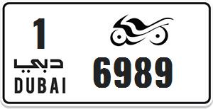 Motorcycle plate 6989