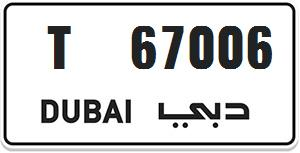 Dubai special number for sale T 67006 - AED 6,000